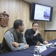 Académicos en  la rueda de prensa para analizar la situación de los migrantes por su paso en Ocotlán