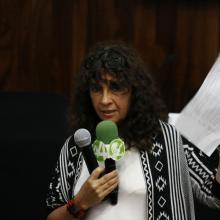 La abogada Ana Chávez Albornoz, participando en el Seminario Multidisciplinario Internacional Trata y Tráfico de Personas