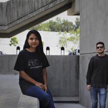 Los cineastas de la licenciatura en Artes Audiovisuales, del Departamento de Imagen y Sonido (DIS), del Centro Universitario de Arte, Arquitectura y Diseño (CUAAD), Chantal Rodríguez, Arturo Baltazar