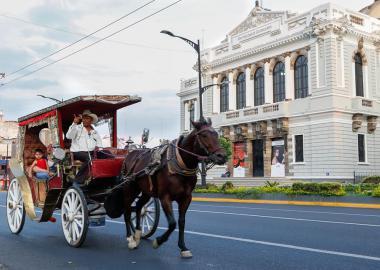 Calandria paseando a turistas por Avenida Juárez, enfrente del Museo de las Artes (MUSA) de la Universidad de Guadalajara.