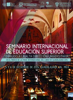 Cartel del seminario internacional de educación superior. Interior de la Biblioteca Iberoamericana