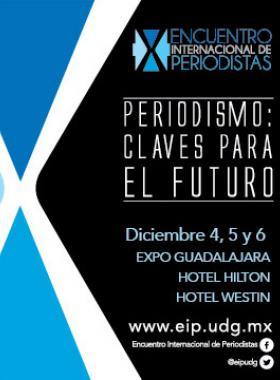 Cartel del X Encuentro Internacional de Periodistas con figuras geometricas