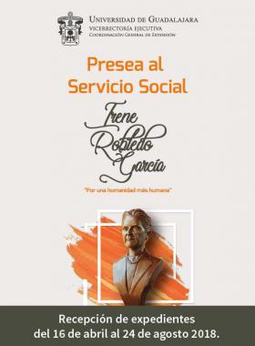 Cartel informativo sobre la 13° Entrega de la Presea al Servicio Social Irene Robledo García