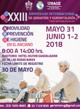 Cartel informativo y de invitación al XXIII Simposium Internacional de Geriatría y Gerontología. A realizarse del 31 de mayo al 2 de junio. En el auditorio del Hotel Hilton Guadalajara. Cierre de registro: 30 de mayo.