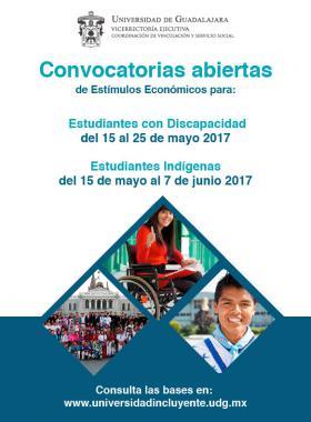 Cartel de las Convocatorias abiertas del Programa de Estímulos Económicos a: estudiantes con discapacidad del 15 al 25 de mayo de 2017 y estudiantes indígenas del 15 de mayo al 7 de junio de 2017; en el que se indica un enlace para consultar las bases.