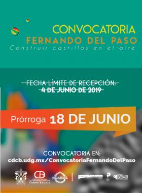 """Cartel informativo de la convocatoria: Fernando del Paso """"Construir castillos en el aire"""". Prórroga de recepción 18 de junio"""