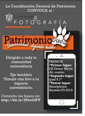 """Cartel informativo del segundo concurso de fotografía """"Patrimonio UdeG: Universidad dejando huella"""". Dirigido a toda la comunidad universitaria. Eje temático: Tómale una foto a tu espacio universitario"""