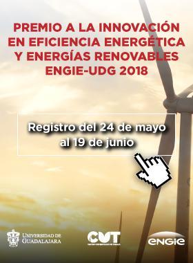 Cartel informativo sobre el Premio a la Innovación en Eficiencia Energética y Energías Renovables ENGIE-UDG 2018