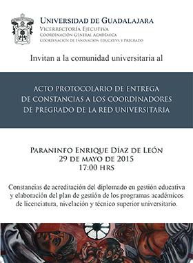 Cartel de invitación al evento de entrega de constacias