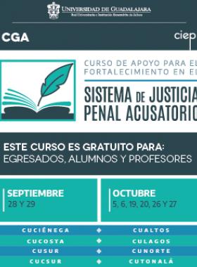 Cartel informativo sobre el Curso de apoyo para el fortalecimiento en el Sistema de Justicia Penal Acusatorio