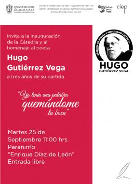 Cartel informativo sobre la Cátedra de Poesía y Periodismo Cultural Hugo Gutiérrez Vega