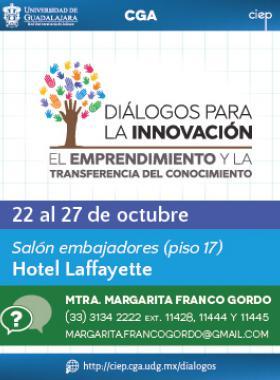 Cartel informativo sobre Diálogos para la Innovación, el Emprendimiento y la Transferencia de Conocimiento