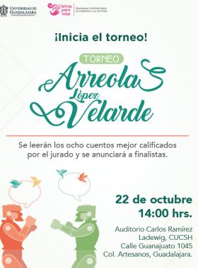 Cartel informativo sobre el Torneo Arreola y López Velarde