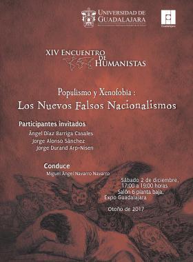 """Cartel informativo sobre el  XIV Encuentro de Humanistas """"Populismo y xenofobia: Los nuevos falsos nacionalismos"""""""