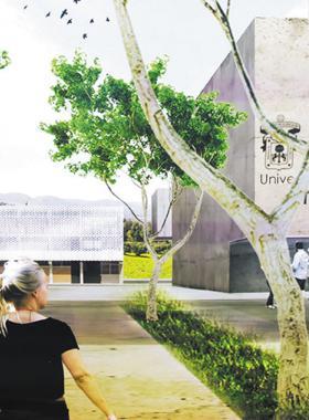 Vista ficticia de la entrada del proximo centro universitario