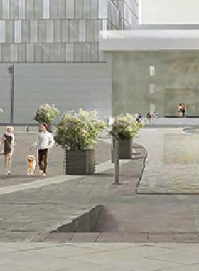 Centro comercial moderno y paisaje a los alrededores que reflejan los cambios culturales y de comportamiento manifestados en Guadalajara.