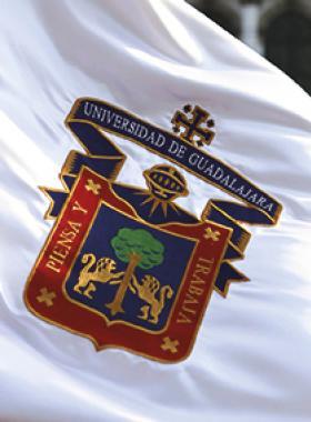 Bandera con escudo de la Universidad de Guadalajara