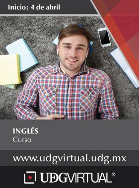 Cartel informativo sobre el Curso de Inglés. Fecha de inicio 4 de abril, a impartirse por UDGVIRTUAL.