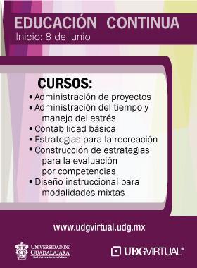 Cursos para la educación contínua de la UDG Virtual