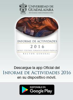 Cartel con información de descarga de app oficial de informe de actividades
