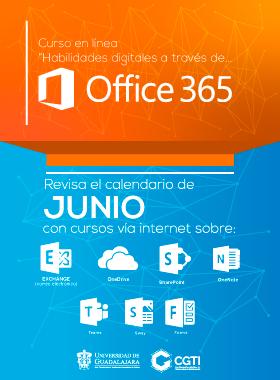 Cartel informativo de la capacitación docente en Office 365. Cursos en línea del mes de junio. Invitan Coordinación General de Tecnologías de Información (CGTI)