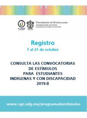 Cartel para anunciar el Programa de estímulos económicos para estudiantes con discapacidad y estudiantes indígenas 2019-B