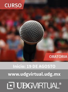 Cartel alusivo en el que se muestra un Microfono con público detrás para dar a conocer el inicio del curso de oratoria a iniciarse el 19 de agosto y se proporciona el enlace de UDGVirtual.