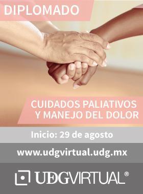Cartel con texto informativo del Diplomado de Cuidados Paliativos y Manejo del Dolor; que da inicio el 29 de agosto en UDGVirtual.
