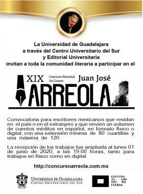 """XIX Convocatoria del Concurso Nacional de Cuento """"Juan José Arreola"""""""
