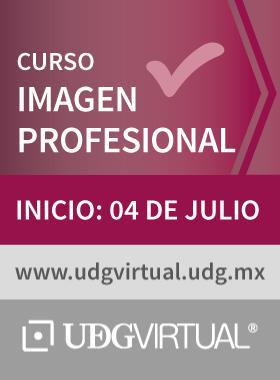 Cartel con texto informativo del incio del curso Imagen Profesional, el 04 de julio en UDGVirtual.