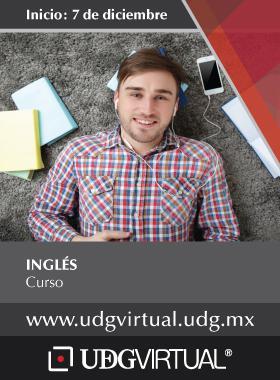 Invitación al Curso de Inglés. Inicio el 7 de diciembre en UDGVirtual. Se proporciona enlace para consulta y mayores informes.