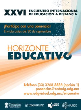 Cartel informativo sobre el Encuentro Internacional de Educación a Distancia #UDGVirtual
