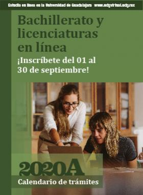 Cartel informativo del calendario de trámites 2020A para Bachillerato y licenciaturas en línea, UDGVirtual. Periodo de inscripciones del 1 al 30 de septiembre