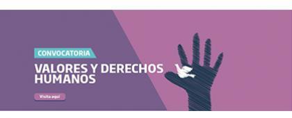 """Cartel informativo sobre la convocatoria del  Concurso de Ensayo """"Valores y Derechos Humanos"""""""