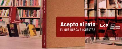 """Cartel informativo: 14 de febrero compra tus regalos en la Librería Carlos Fuentes y participa en el reto """"El que busca encuentra"""""""