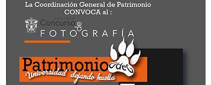 """Cartel informativo para promocionar el Concurso de fotografía """"Patrimonio UdeG: Universidad dejando huella"""", fecha límite de recepción de fotografías: 30 de septiembre"""