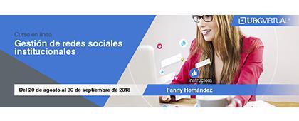 Cartel informativo sobre el Curso: Gestión de redes sociales institucionales del 20 de agosto al 30 de septiembre