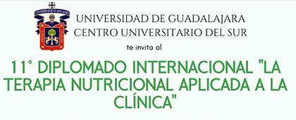 """Folleto informativo del Décimo primer Diplomado Internacional """"La terapia nutricional aplicada a la clínica"""", con apoyo al proceso de titulación. Fecha de inicio 10 de junio, sesiones de lunes a viernes, de 9:00 a 15:00 horas, en el CUSur"""