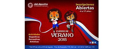 Cartel informativo sobre los Cursos de verano 2018, Del 9 de julio al 3 de agosto en el  Club Deportivo de la Universidad de Guadalajara