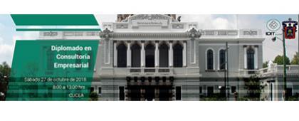 Cartel informativo sobre el Diplomado en Consultoría Empresarial, en el Centro Universitario de Ciencias Económico Administrativas