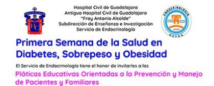 Cartel informativo sobre la Primera Semana de la Salud en Diabetes, Sobrepeso y Obesidad del HCG, del Del 12 al 16 de noviembre, de 8:00 a 12:00 h