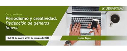 Cartel informativo sobre el Curso: Periodismo y creatividad, Del 28 de enero al 10 de marzo