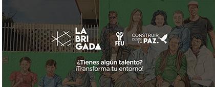 Cartel informativo sobre Participa en las Brigadas Multidisciplinarias de la FEU