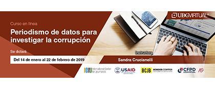 Cartel informativo sobre el Curso: Periodismo de datos para investigar la corrupción, del 14 de enero al 22 de febrero