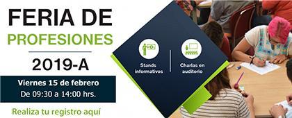 Cartel informativo sobre la Feria de Profesiones 2019A, el 15 de febrero, de 9:30 a 14:00 h. en el Centro Universitario de los Altos