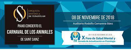 Cartel informativo sobre el Foro de Salud Mental y Jornadas de Actualización en Psicología, el 8 y 9 de noviembre en el Auditorio Rodolfo Camarena Báez, CUAltos