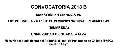 Panfleto de Maestría en Ciencias en Biosistemática y Manejo de Recursos Naturales y Agrícolas (BIMARENA). Periodo de registro del 21 de mayo al 22 de junio en www.escolar.udg.mx.