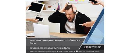 Cartel informativo sobre el Curso: Detección y manejo del burnout (estrés laboral), Inicio: 16 de octubre