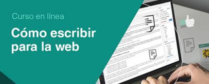 Cartel informativo sobre el Curso: Cómo escribir para la web, Del 12 de noviembre al 16 de diciembre