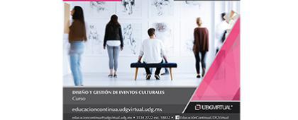 Cartel informativo sobre el Curso: Diseño y gestión de eventos culturales, Inicio: 13 de noviembre